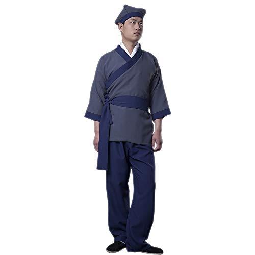 lONMEI Herren Hanfu - Chinesische Alte Chinesische Diener-Gelehrte Traditionelle Cosplay-Kostüme, Blau/L