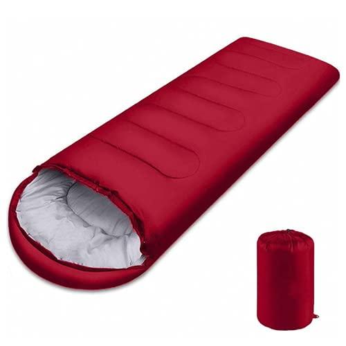 Saco de Dormir para Acampar, Saco de Dormir Rectangular con Bolsa de compresión y Capucha, Impermeable, para Viajes Senderismo Adultos y Niños (Red,1.3kg(180+30) x75cm)