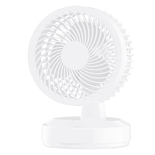 PLOKU Mini ventilatore portatile, piccolo ventilatore da scrivania personale, con batteria ricaricabile USB per il raffreddamento viaggi ufficio casa bianco D