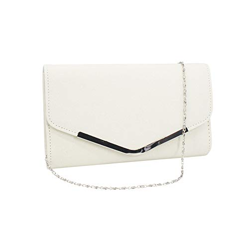 Deloito Mode Damen Solide Silberkette Handtasche Blitz Abendkleid Clutch Cocktail Party Leuchtenden Umhängetasche Kette Telefon Abendtasche (Weiß)