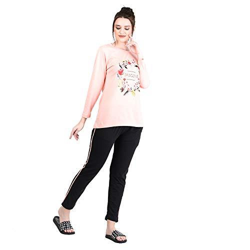 Duchess Women's Printed Cotton Top and Pyjama Night Wear Suit Set (Carrot-Black:2XL)