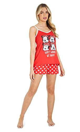 Disney Pijama Mujer Verano, Pijama Corto Algodón con Mickey, Minnie Mouse o Daisy Duck, Conjuntos Mujer Verano con Camiseta De Tirantes Y Pantalón Corto S-XL (Lunares Rojo, XL)