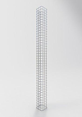 GABIONA   Gabionensäule HxBxT: 200 x 17 x 17 cm   Maschenweite 5 x 5 cm   Eckiger Gabionenpfosten für den Garten   Rostfrei