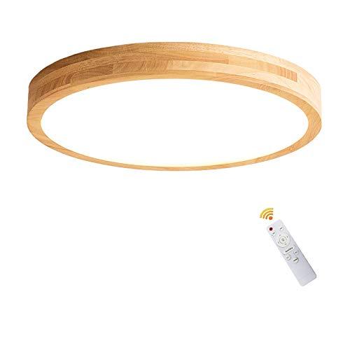 LED Deckenleuchte Holz mit Fernbedienung, 24W Dimmbare Deckenlampe Bürodeckenleuchten Schlafzimmerlampe Modern Runde Holzlampe Flurlampe Acryl-Schirm Deckenbeleuchtung, 3500K-6500K