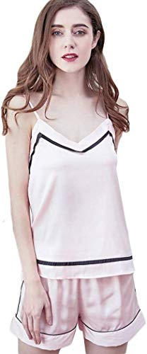 Comfortable Cotton Pajamas Women's Summer Pyjamas Sets Ladies Silk Satin Camisole Sexy Sling Tops and Shorts Fashion Sleepwear (Color : C, Size : Large)