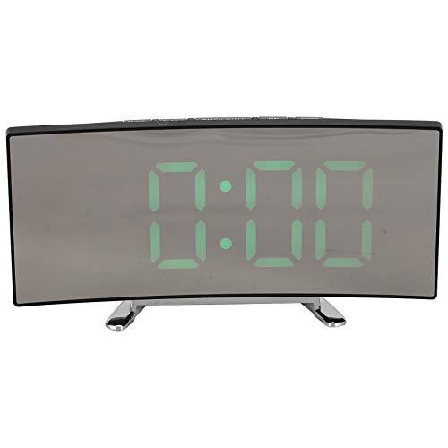 Rayocon Sveglia Digitale, Orologio da Camera Digitale con Schermo LED Dimmerabile Curvo, Grande Orologio Verde, Illuminazione Intelligente, Funzione Snooze, 12/24 Ore, Porta USB