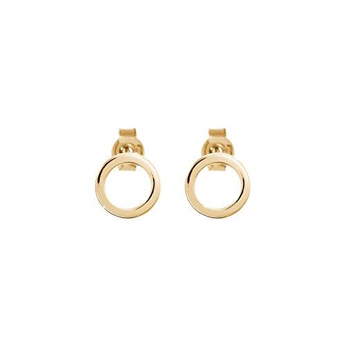 Pendientes circulares pequeños, Pendientes de oro de 9K 14K 18K, Oro amarillo, Pendientes delicados minimalistas, Regalo para mujer, Oro macizo/code: 0.002