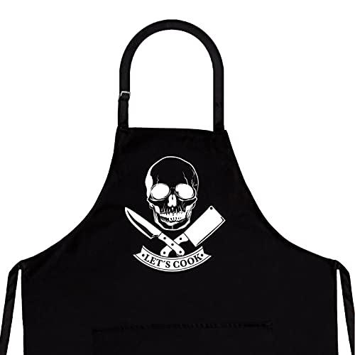 StarGifts Tablier de Cuisine Humoristique pour Homme - Taille adaptée à Tous Les modèles de Cuisine de qualité supérieure - Accessoire idéal pour Barbecue. Skull Cook