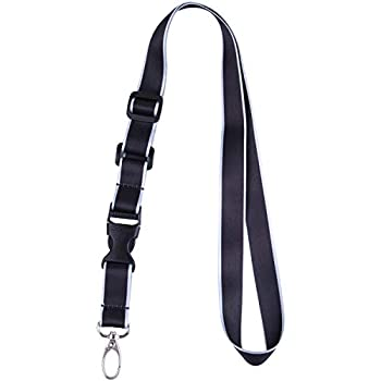 Office Lanyard Wisdompro Adjustable Length Polyester Neck Strap with Oval Clasp and Detachable Buckle for ID Name Tag Company Badge Holder and Keys - Black and Powder Blue