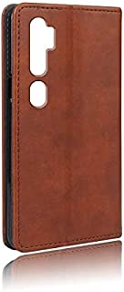For XiaoMi CC9 PRO & Xiaomi Note 10 Mobile Phone Case Card Wallet Anti-Fall Leather Case Cover-Brown