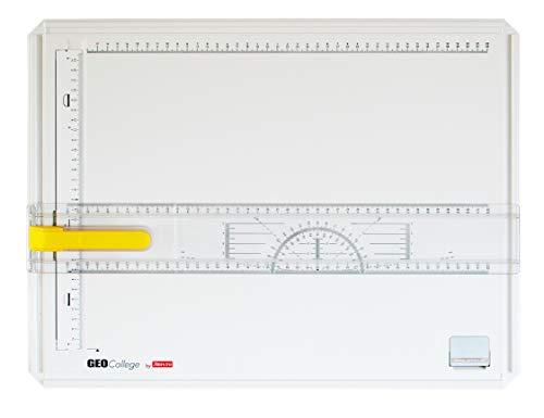 Aristo AR7040 College Board Zeichenplatte (Format A3, schlagfester Kunststoff, mit Zeichenschiene) weiß
