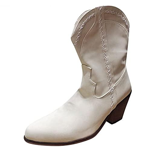 RTPR Botines clásicos para mujer, elegantes botas cortas, botines gruesos con tacón cuadrado, botas de tacón bajo, botas para otoño e invierno, Blanco, 40 EU