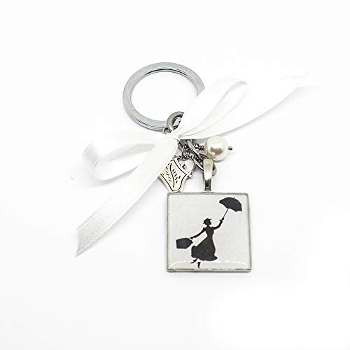Portachiavi a tema Mary Poppins con charm e fiocco