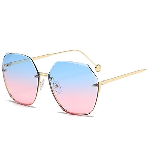 Gafas De Sol Gafas De Sol Sin Montura De Moda para Mujer Gafas De Sol De Diseñador Clásicas Retro para Mujer Gafas Poligonales De Metal Azul Rosa Tonos Bluepink