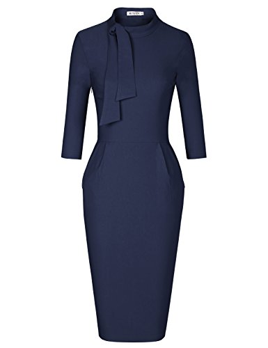 MUXXN Lady Elegant Scoop Collar Pocket Casual Work Knee Length Pencil Dress (Blue S)