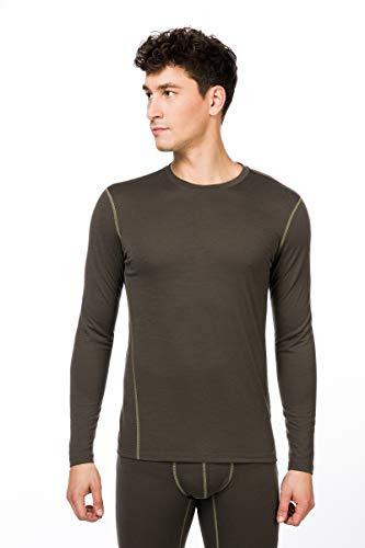 super.natural Base 175 T-Shirt à Manches Longues en Laine mérinos. Homme, Killer Kaki/Bambou, s