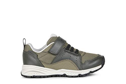 Geox Jungen Low-Top Sneaker Bernie, Kinder Sneaker,lose Einlage,Kinderschuhe,Sportschuhe,Freizeitschuhe,Grün (Military/Black),29 EU / 11 UK Child