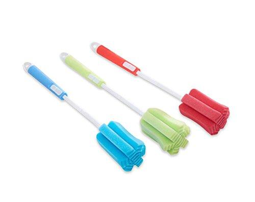 3PCS Justierbare Weiche Schwamm-Flaschen-Reinigungsbürste mit langem Plastikgriff-Schalen-Bürsten-Wäscher-Waschbürste für Glasdekantiergefäß-Fütterung-Flasche Winebottle (Farbe zufällig)