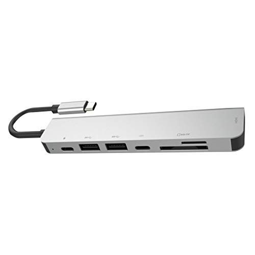 Mingtongli 7 in 1 USB-C-Hub-Dock-Aluminiumlegierung-HD Dual USB 3.0 Port Adapter PD USB C Slot SD & TF-Kartenleser