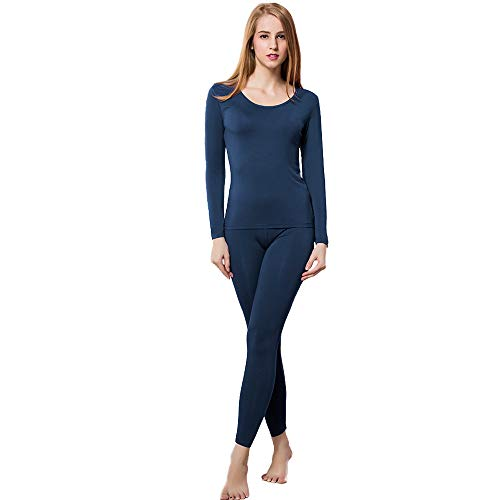 Thermal Underwear Women Ultra-Soft Long Johns Set Base Layer Skiing Winter Warm Top & Bottom (M, Blue)