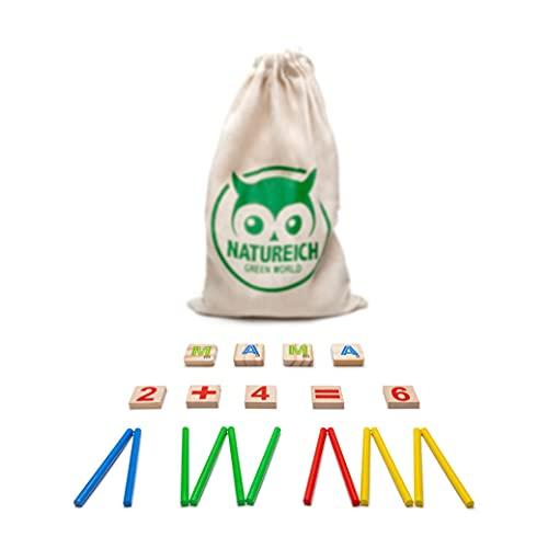 Natureich Mathe Montessori Spielzeug aus Holz inkl. Stoffbeutel zum Aufbewahren Zahlen Lernen mit Rechen-Stäbchen, Bunt / Natur ab 3 Jahre für die frühe Motorik Entwicklung & Ausbildung ihres Kindes