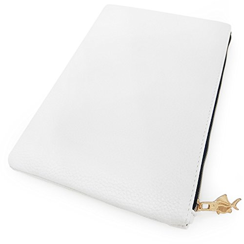 Faux Leather Pencil Case - Leather Look Makeup Bag - White with Gold Zip - Large