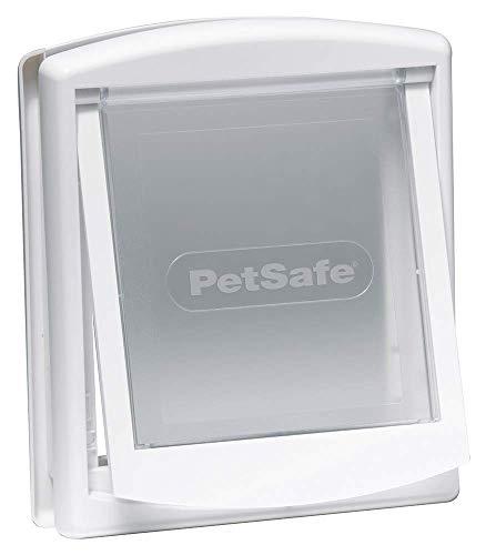 PetSafe – Chatière pour chien et chat Originale Staywell, 2 voies d'accès – entrée et sortie - Porte pour animaux. Résistante, Rigide, Panneau de Fermeture (vendu séparément) – Blanc (S)