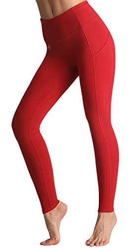 FITTIN Damen Yoga Leggings Hohe Taille mit Taschen - Blickdichte Leggings Sporthosen für Laufen, Sport, Training, Fitnes Dunkelrot M
