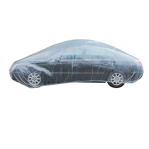 ESUPPORT Elastic Band Clear Plastic Disposable Universal Car Covers Rain Dust Garage Cover Waterproof Temporary 12ft X 22ft