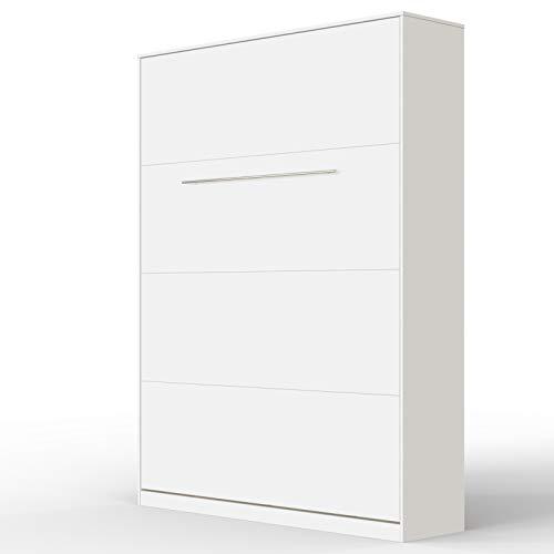 SMARTBett Standard 140x200cm Vertical Blanco | Cama Abatible, Cama De Pared, Cama Plegable, Cama Oculta