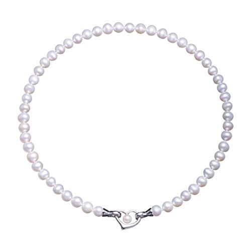 Collar de perlas blancas de agua dulce y de plata pura bañada en 18k platino, regalo de amor eterno para aniversario de cumpleaños Regalo san valentín VIKI LYNN
