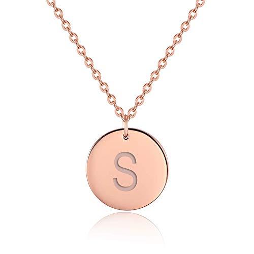 URBANHELDEN – Collana da donna color oro rosa con ciondolo con incisa lettera a scelta e Acciaio inossidabile, colore: s, cod. 6000256-SFBA