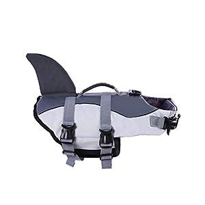 Zhongde Dog Life Jacket for Extra Large Dog, Adjustable Shark Floatation Pet Lifesaver Vest for Swimming and Boating, Jackets with Soft Rubber Handle