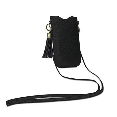 kalibri Custodia Smartphone Universale in Vera Pelle - Astuccio Porta-cellulare con Tracolla da Appendere - Borsa con Ciondolo e Portacarte - nero