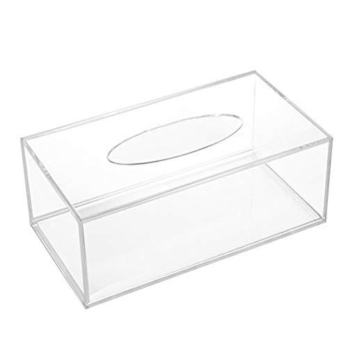 BESTOMZ Dispensador de Toallas de Papel Caja del Tejido Transparente Acrílico Rectangular para Cuarto de Baño Mesa Dormitorio
