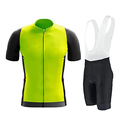 HXTSWGS Ropa de Hombre Maillot de Ciclismo, Ropa de Ciclismo, Culotte con Tirantes de Bicicleta MTB Maillot de Maillot Traje-Yellow_S