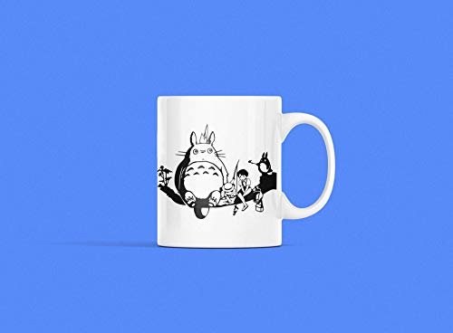 N\A Anime Totoro Taza de cerámica Personalizada Taza de té de café tamaño estándar Ghibli Dibujos Animados clásicos japoneses