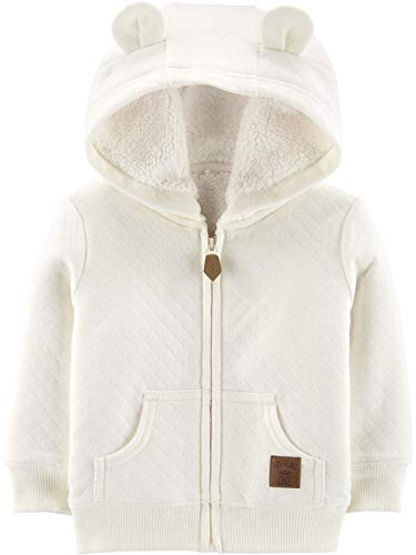 Simple Joys by Carter's Hooded Sweater with Sherpa Lining quilted-lightweight-jackets, hellbeige, 12 Months