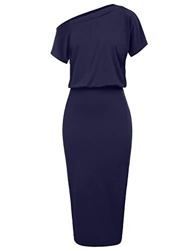 GRACE KARIN Off Shoulder Formal Party Midi Dress Plus Size 2XL Navy Blue CL037-3 2 Piece Blue Dress