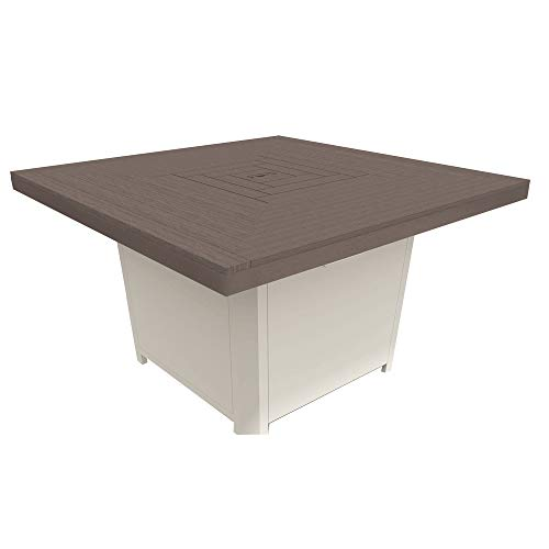 Read About Winston Echo Cushion - Square Fire Pit - Fog Frame - Beech Wood Top