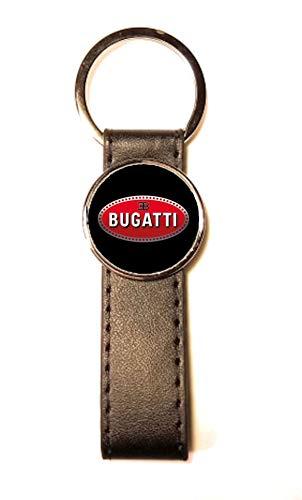 Llavero de Acero y Piel sintética Classic Circle Bugatti Negro