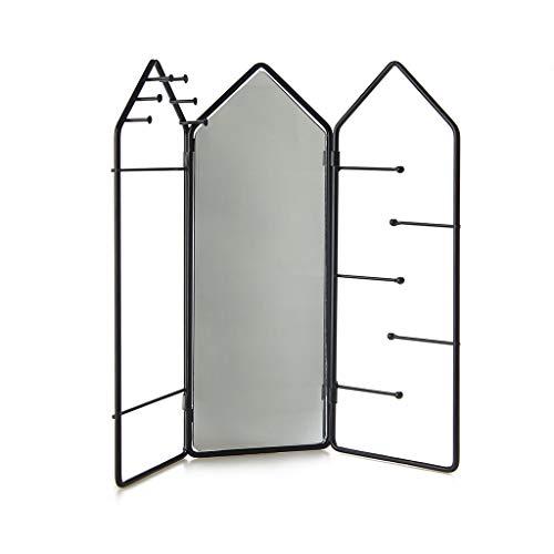 Balvi Soporte Joyas House Color Negro con Espejo y 11 Ganchos para Colgar Pulseras, Collares, Anillos y Otras Joyas Metal