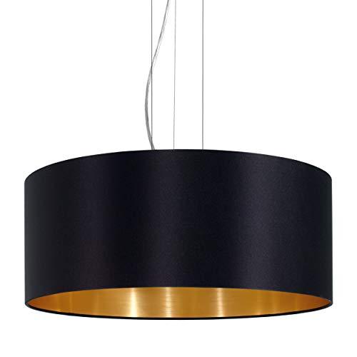 EGLO Pendellampe Maserlo, 3 flammige Textil Pendelleuchte, Hängeleuchte aus Stahl und Stoff, Farbe: nickel matt, schwarz, gold, Fassung: E27, Ø: 53 cm
