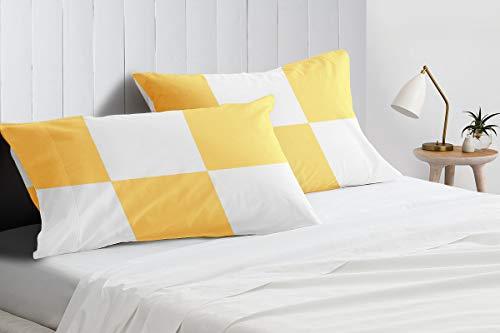 Fundas de almohada de algodón egipcio de 600 hilos, tamaño estándar, 50 x 75 cm, color dorado (2 unidades)