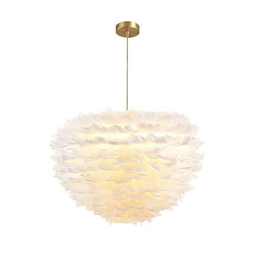 Siet Colgante de Plumas Luz de luz Metal Metal Techo Lámpara Colgante, Accesorios de iluminación de suspensión romántica para Sala de Estar Dormitorio Interior Decorativo E27 Araña (Color : Blanco)