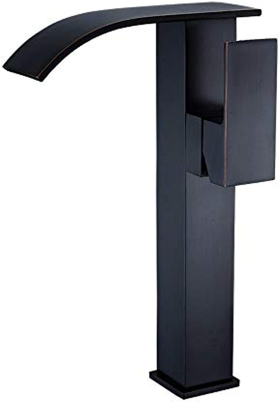 HIZLJJ Wasserfall-Einhebelmischer für Waschbecken mit Ablaufgarnitur und Zulaufschlauch Bleifreier Wasserhahn-Mischbatterie-Doppelgriff-Hahn Decks-gebürstetes Nickel (gre   L)