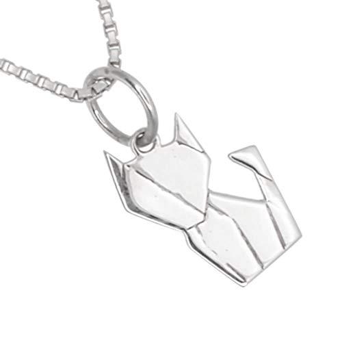 Quirky - Colgante de plata de ley con diseño de gato de origami (8 x 17 mm) (N91)