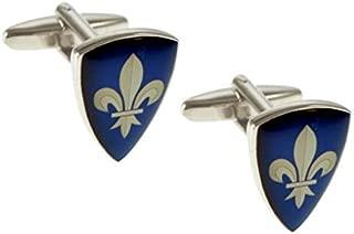 Ashton and Finch Boutons de Manchette bomb/és en Forme de Bouclier Bleu en Forme de Fleur de Lys avec bo/îte-Cadeau