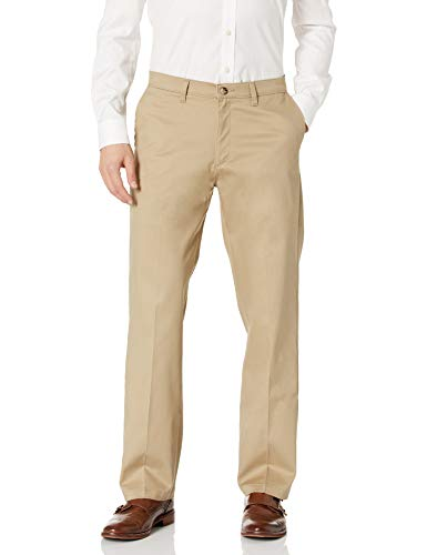 Lee Men's Total Freedom Stretch Relaxed Fit Flat Front Pant, Khaki, 34W x 32L