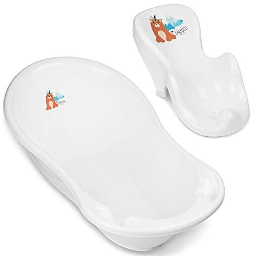 Babybadewanne mit Sitz - Baby Wanne mit Badewannensitz Baby - Babybadesitz mit Anti-Rutsch-Funktion und Saugnäpfen zum Befestigen. Von 0 bis ca. 12 Monate.